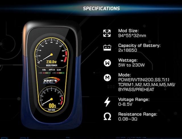REV Tech GTS 230W TC Mod Australia AVS