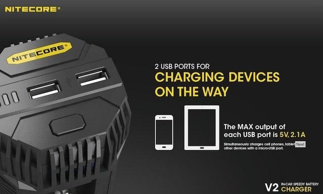 Nitecore V2 6A 2 Bay Speedy In Car Battery Charger Australia AVS