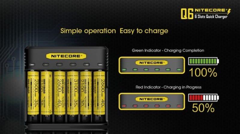 Nitecore Q6 6 Bay Smart Battery Charger Australia